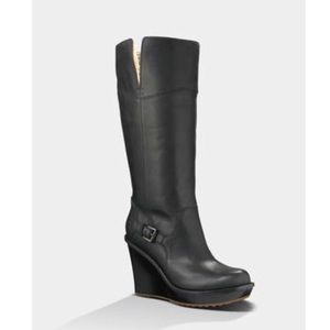UGG Australia Sidonie Black Leather Knee Boots 7